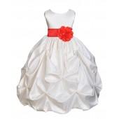 Ivory/Red Satin Taffeta Pick-Up Bubble Flower Girl Dress 301S