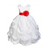 White/Red Satin Taffeta Pick-Up Bubble Flower Girl Dress 301T