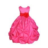 Fuchsia/Red Satin Taffeta Pick-Up Bubble Flower Girl Dress 301S
