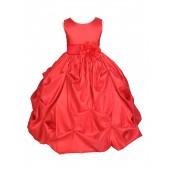 Red/Red Satin Taffeta Pick-Up Bubble Flower Girl Dress 301S