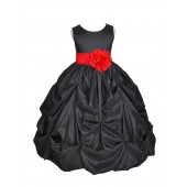 Black/Red Satin Taffeta Pick-Up Bubble Flower Girl Dress 301S