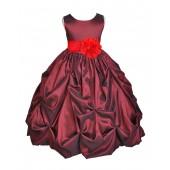 Burgundy/Red Satin Taffeta Pick-Up Bubble Flower Girl Dress 301S