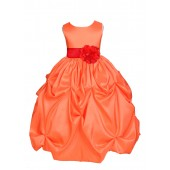 Orange/Red Satin Taffeta Pick-Up Bubble Flower Girl Dress 301S