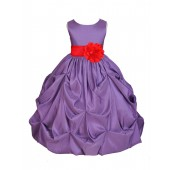 Purple/Red Satin Taffeta Pick-Up Bubble Flower Girl Dress 301S