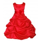 Red Matching Satin Pick-Up Bubble Flower Girl Dress 808T