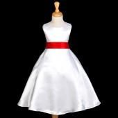 White/Red A-Line Satin Flower Girl Dress Wedding Bridal 821S