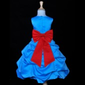 Turquoise/Red Satin-Pick-Up Bubble Flower Girl Dress Recital 808T