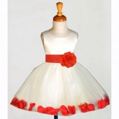 Ivory/Red Rose Petals Tulle Flower Girl Dress Pageant 305S