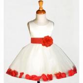 White/Red Rose Petals Tulle Flower Girl Dress Wedding 305S