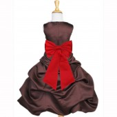 Brown/Red Satin Pick-Up Bubble Flower Girl Dress Occasions 808T