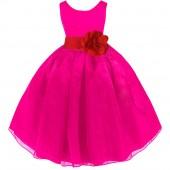 Fuchsia/Red Satin Bodice Organza Skirt Flower Girl Dress 841T