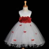Red Butterflies Tulle Flower Girl Dress 3-Flower Sash 509A