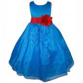 Royal Blue/Red Satin Bodice Organza Skirt Flower Girl Dress 841T