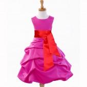 Fuchsia/Red Satin Pick-Up Bubble Flower Girl Dress V2 806S