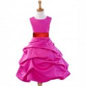 Fuchsia/Red Satin Pick-Up Bubble Flower Girl Dress Elegant 808T