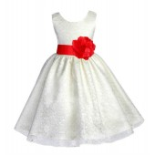 Ivory/Red Floral Lace Overlay Flower Girl Dress Special Event 163S