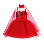 Red Shawl Sequin Tulle Flower Girl Dress Special Events 1508NF