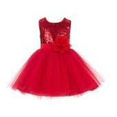 Red Dazzling Sequins Mesh Tulle Flower Girl Dress Elegant 124NF