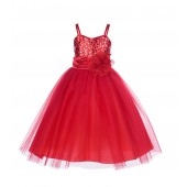 Red Spaghetti-Straps Sequin Tulle Flower Girl Dress Stunning B-1508NF