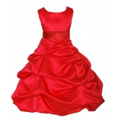 Red/Red Satin Pick-Up Bubble Flower Girl Dress Christmas 806S