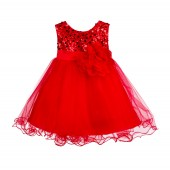 Red Glitter Sequin Tulle Flower Girl Dress Formal Princess B-011NF