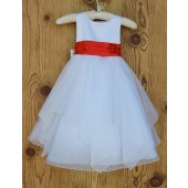 White/Red Satin Bodice Shimmering Organza Flower Girl Dress J012