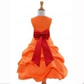Orange/Red Satin Pick-Up Bubble Flower Girl Dress Halloween 808T