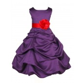 Purple/Red Satin Pick-Up Bubble Flower Girl Dress Easter 808T