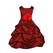 Apple Red/Red Satin Pick-Up Bubble Flower Girl Dress 808T