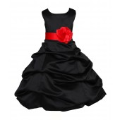 Black/Red Satin Pick-Up Bubble Flower Girl Dress Formal 808T