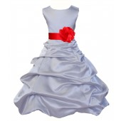 Silver/Red Satin Pick-Up Bubble Flower Girl Dress Stylish 808T