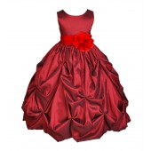 Apple / Red Satin Taffeta Pick-Up Bubble Flower Girl Dress 301S