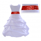 White Satin Pick-Up Bubble Flower Girl Dress Red Sequins 806mh