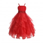Red Satin Organza Sequin Spaghetti-Straps Flower Girl Dress 009