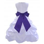 White/Cadbury Satin Pick-Up Bubble Flower Girl Dress Wedding 806S