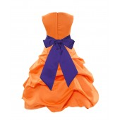 Orange/Cadbury Satin Pick-Up Bubble Flower Girl Dress Halloween 806S