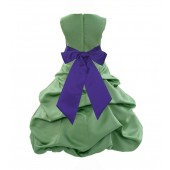 Clover Green/Cadbury Satin Pick-Up Bubble Flower Girl Dress 806S
