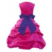 Fuchsia/Cadbury Satin Pick-Up Bubble Flower Girl Dress Elegant 806S