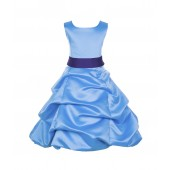 Turquoise/Cadbury Satin Pick-Up Bubble Flower Girl Dress Recital 806S