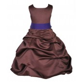 Brown/Cadbury Satin Pick-Up Bubble Flower Girl Dress Occasions 806S