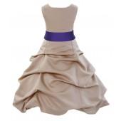 Champagne/Cadbury Satin Pick-Up Bubble Flower Girl Dress Princess 806S