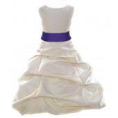 Ivory/Cadbury Satin Pick-Up Bubble Flower Girl Dress Bridesmaid 806S