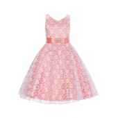 White/Coral Floral Lace Overlay V-Neck Rhinestone Flower Girl Dress 166S