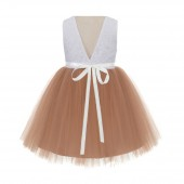 Rose Gold / Ivory Backless Lace Flower Girl Dress Rhinestone 206R3