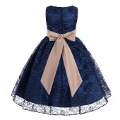 Navy / Rose Gold Floral Lace Overlay Flower Girl Dress Lace Dresses 163s