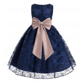 Navy Blue / Rose Gold Floral Lace Overlay Flower Girl Dress Elegant Beauty 163T