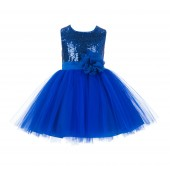 Royal Blue Dazzling Sequins Mesh Tulle Flower Girl Dress Elegant 124NF