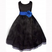 Black/Royal Blue Satin Bodice Organza Skirt Flower Girl Dress 841T