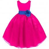 Fuchsia/Royal Blue Satin Bodice Organza Skirt Flower Girl Dress 841T