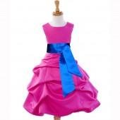 Fuchsia/Royal Blue Satin Pick-Up Bubble Flower Girl Dress V2 806S